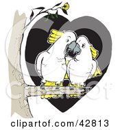 Clipart Illustration Of A White And Yellow Cockatoo Bird Pair Cudding In A Tree