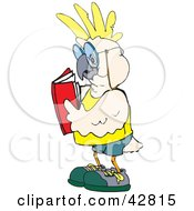 Clipart Illustration Of A White And Yellow Cockatoo Bird Reading A Book