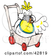 Clipart Illustration Of A Baby Cockatoo Bird In A Stroller