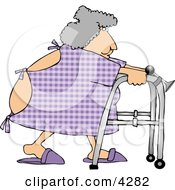 Hospitalized Obese Woman Using A Walker Clipart