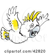 Clipart Illustration Of A White And Yellow Cockatoo Bird Flying