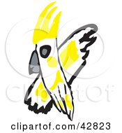 Clipart Illustration Of A Flying White And Yellow Cockatoo Bird by Dennis Holmes Designs