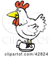 Clipart Illustration Of A White Rooster Wearing Shoes