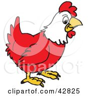Clipart Illustration Of A Red And White Rooster In Profile