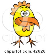 Clipart Illustration Of A Long Beaked Yellow Chick by Dennis Holmes Designs