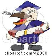 Clipart Illustration Of A Graduate Kookaburra Bird Holding A Diploma