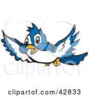 Clipart Illustration Of A Cute Blue Bird Flying Forward