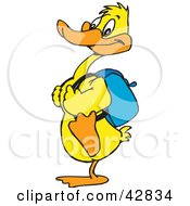 Clipart Illustration Of A Yellow Duck Wearing A Backpack And Walking To School by Dennis Holmes Designs