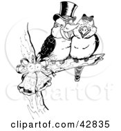 Clipart Illustration Of A Sweet Kookaburra Bird Couple Perched On A Branch With Bells