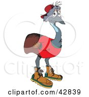Clipart Illustration Of A Depressed Emu Bird In Clothes