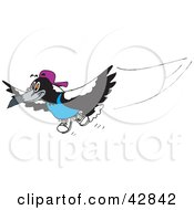 Clipart Illustration Of A Magpie Bird Wearing A Shirt Shoes And Hat by Dennis Holmes Designs