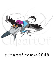 Clipart Illustration Of A Flying Magpie Bird Wearing A Shirt Shoes And Hat by Dennis Holmes Designs