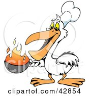 White Pelican Chef Holding A Flaming Pan