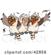 Clipart Illustration Of Three Kookaburra Birds Laughing On A Wire by Dennis Holmes Designs