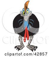 Clipart Illustration Of An Angry Cassowary Facing Front by Dennis Holmes Designs
