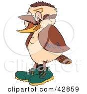 Clipart Illustration Of A Laughing Kookaburra Bird Wearing Shoes by Dennis Holmes Designs
