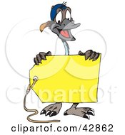 Clipart Illustration Of A Happy Emu Holding A Blank Yellow Price Tag