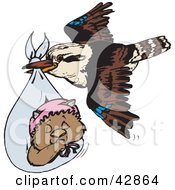 Clipart Illustration Of A Kookaburra Bird Delivering A Baby Wombat by Dennis Holmes Designs