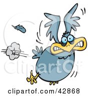 Clipart Illustration Of A Scared Blue Bird Flying