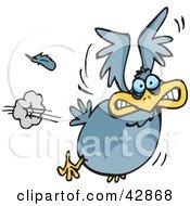 Scared Blue Bird Flying