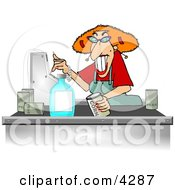 Poster, Art Print Of Grocery Store Checkout Clerk Ringing Up Food Items In Her Cash Register