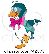 Clipart Illustration Of A Happy Penguin Wearing A Vest And Pink Bow by Dennis Holmes Designs