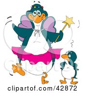 Embarrassed Penguin Standing Beside A Fairy Godmother