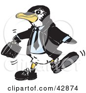 Clipart Illustration Of A Penguin Business Man Carrying A Briefcase by Dennis Holmes Designs