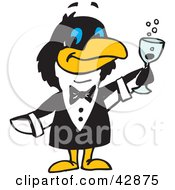 Penguin Waiter Serving Champagne