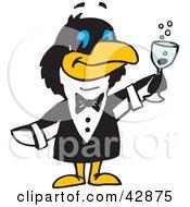 Clipart Illustration Of A Penguin Waiter Serving Champagne by Dennis Holmes Designs