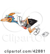 Clipart Illustration Of A Fast Cassowary Bird With A Beak Piercing Wearing Sunglasses And Shoes by Dennis Holmes Designs