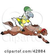 White And Yellow Cockatoo Bird Jockey Riding Horseback