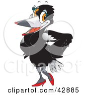 Clipart Illustration Of A Feminine Magpie Bird In A Sexy Black Dress And Heels
