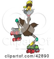 Clipart Illustration Of A Roller Skating Emu Bird