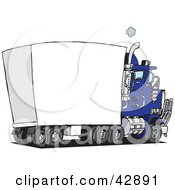 Clipart Illustration Of A Blue Big Rig With A Blank Trailer For You To Insert Your Text by Dennis Holmes Designs