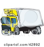 Clipart Illustration Of A Yellow Big Rig With A Blank Trailer For You To Insert Your Text