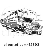 Clipart Illustration Of A Black And White Truck Pulling A Train