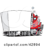Clipart Illustration Of A Red Big Rig With A Blank Trailer For You To Insert Your Text by Dennis Holmes Designs