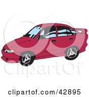 Clipart Illustration Of A Pink Sports Car