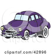 Clipart Illustration Of A Vintage Purple Car With Drag Racing Tires