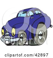 Clipart Illustration Of A Vintage Blue Car With Drag Racing Tires