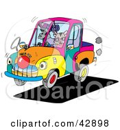 Clipart Illustration Of Animals Riding In A Colorful Clown Car