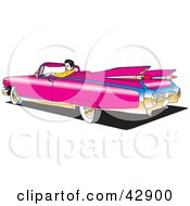 Clipart Illustration Of A Man Sitting In His Pink Convertible Cadillac