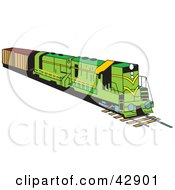 Clipart Illustration Of A Green Industrial Train by Dennis Holmes Designs