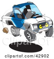 Clipart Illustration Of A Driver Catching Air In His Blue Truck by Dennis Holmes Designs