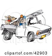 Clipart Illustration Of A Man Driving His Truck With A Dog And Ladder In The Back