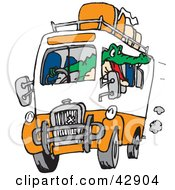 Clipart Illustration Of A Grumpy Crocodile Driving A Bus With Luggage On Top