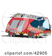 Clipart Illustration Of A Red Fire Engine Speeding To An Emergency Scene by Dennis Holmes Designs