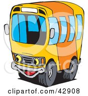 Happy Orange And Yellow School Bus Character