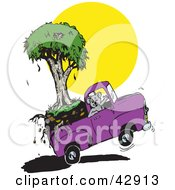Clipart Illustration Of A Moving Koala Waving And Transporting His Eucalyptus Tree In A Purple Truck